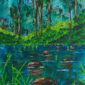 (CreativeWork) Wild (The Creek Crossing) by Jazmin Wilkins. acrylic-painting. Shop online at Bluethumb.