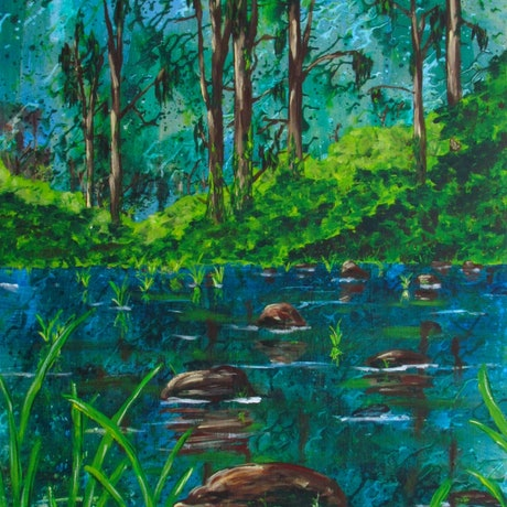 (CreativeWork) Wild (The Creek Crossing) by Jazmin Wilkins. Acrylic Paint. Shop online at Bluethumb.