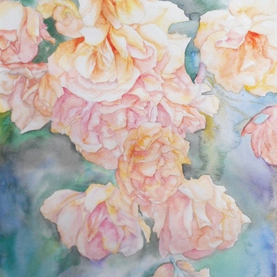 (CreativeWork) Roses by Aaron Lai. watercolour. Shop online at Bluethumb.