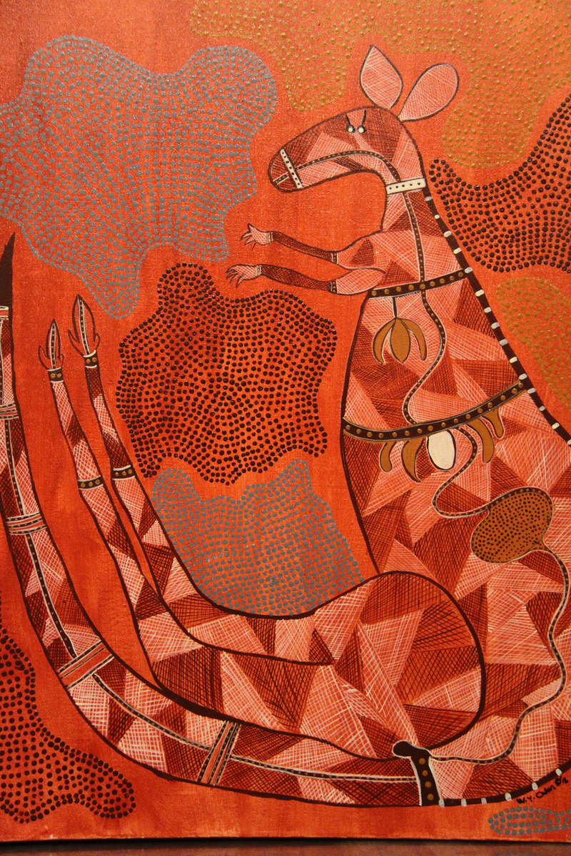 """(CreativeWork) """" Roo Dreaming """" by wendy Owen. arcylic-painting. Shop online at Bluethumb."""