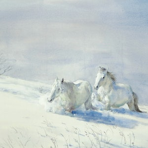 (CreativeWork) Horses in Snow by Richard(Tiejun) Chao. watercolour. Shop online at Bluethumb.