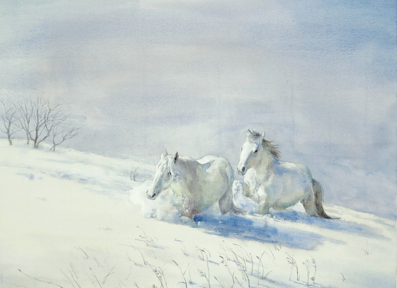 (CreativeWork) Horses in Snow by Richard(Tiejun) Chao. Watercolour Paint. Shop online at Bluethumb.