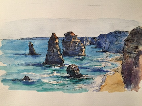(CreativeWork) 12 Apostles by Richard(Tiejun) Chao. Watercolour Paint. Shop online at Bluethumb.