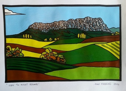 (CreativeWork) view to Mount Roland by John Fibbens. arcylic-painting. Shop online at Bluethumb.