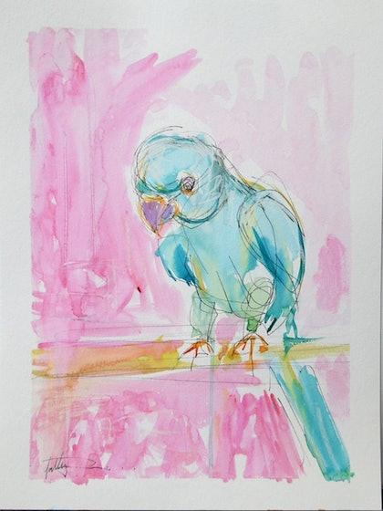 (CreativeWork) Perch  by Sally Perrett. mixed-media. Shop online at Bluethumb.
