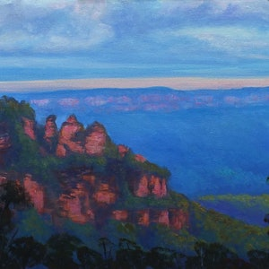 (CreativeWork) Last lights Three Sisters Katoomba, NSW by Christopher Vidal. arcylic-painting. Shop online at Bluethumb.