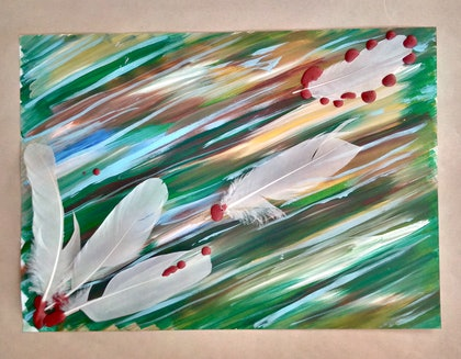 (CreativeWork) In Flight. by Ruby Brown. mixed-media. Shop online at Bluethumb.