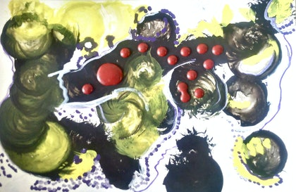 (CreativeWork) Red. by Ruby Brown. mixed-media. Shop online at Bluethumb.