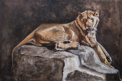 (CreativeWork) Lion & the Mouse by Catherine Clark Dowden. arcylic-painting. Shop online at Bluethumb.
