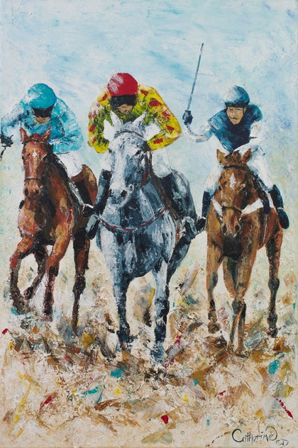 (CreativeWork) Beach Race by Catherine Clark Dowden. arcylic-painting. Shop online at Bluethumb.