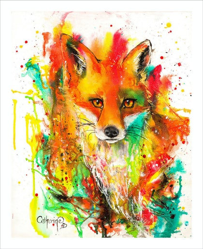 (CreativeWork) Ink Series Fox I by Catherine Clark Dowden. mixed-media. Shop online at Bluethumb.