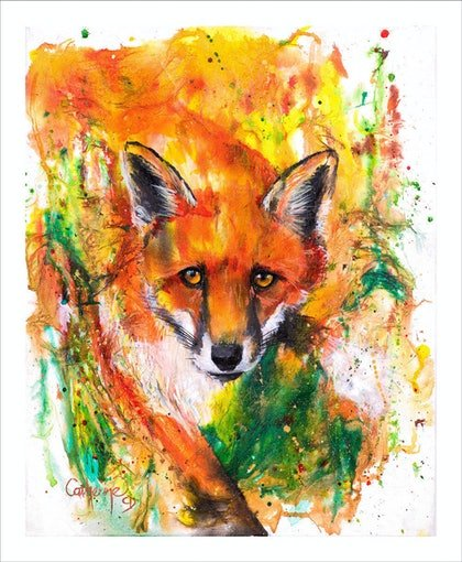 (CreativeWork) Ink Series Fox II by Catherine Clark Dowden. mixed-media. Shop online at Bluethumb.