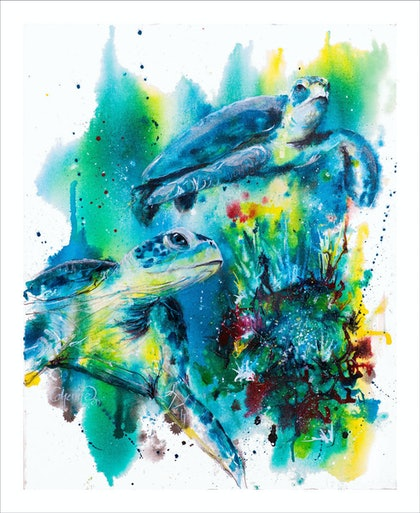 (CreativeWork) Ink Series Turtle I by Catherine Clark Dowden. mixed-media. Shop online at Bluethumb.