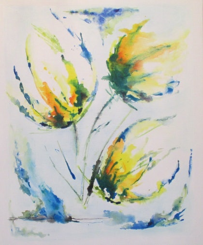 (CreativeWork) Tulips in Spring by Mitali Fernando. mixed-media. Shop online at Bluethumb.