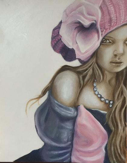 (CreativeWork) Girl in Pink Knitted Hat no.1 by Sandra Jule Cipriotti. print. Shop online at Bluethumb.