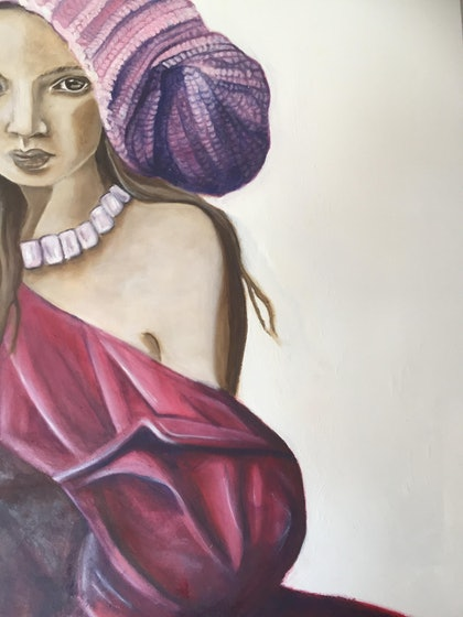 (CreativeWork) Girl in Pink Knitted Hat no.2 by Sandra Jule Cipriotti. oil-painting. Shop online at Bluethumb.