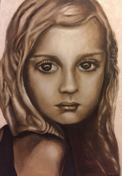 (CreativeWork) Kenzi by Sandra Jule Cipriotti. oil-painting. Shop online at Bluethumb.
