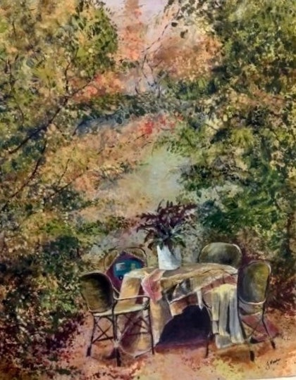 (CreativeWork) Tea in the garden by Julie Martin. arcylic-painting. Shop online at Bluethumb.