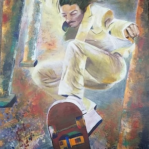 (CreativeWork) Skater on through by Julie Martin. arcylic-painting. Shop online at Bluethumb.
