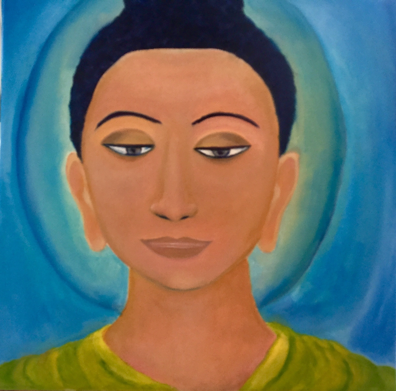 (CreativeWork) Budhdha in Bliss by Charoo Dubey. oil-painting. Shop online at Bluethumb.