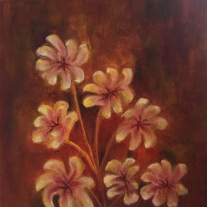 (CreativeWork) Flowers in remembrance  by Charoo Dubey. oil-painting. Shop online at Bluethumb.