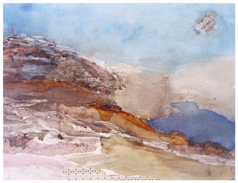 (CreativeWork) Mountain by the Sea by Kristi Thompson. mixed-media. Shop online at Bluethumb.