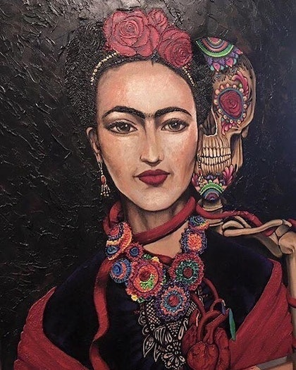 (CreativeWork) Perserverance a portrait of Frida Kahlo by Amy Grigg by Amy Grigg. arcylic-painting. Shop online at Bluethumb.