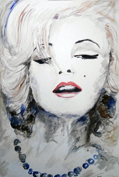 (CreativeWork) Marilyn Blue Beads by Trish Loader. watercolour. Shop online at Bluethumb.