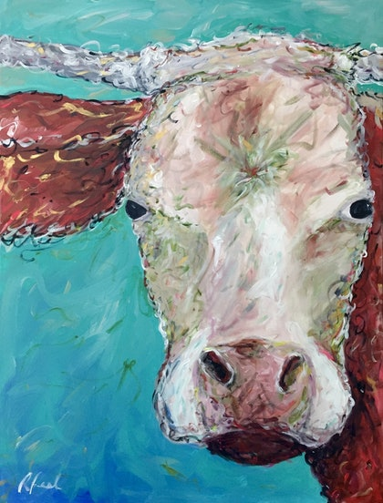 (CreativeWork) 'Old Mate' by Rebecca Peel. arcylic-painting. Shop online at Bluethumb.