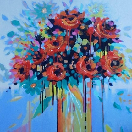 (CreativeWork) Fantasy flowers  by Lesley Austin. arcylic-painting. Shop online at Bluethumb.