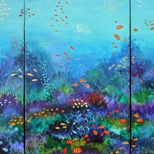 (CreativeWork) Waterworld triptych by Nigel Gillings. Acrylic Paint. Shop online at Bluethumb.