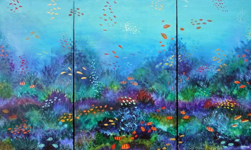 (CreativeWork) Waterworld triptych by Nigel Gillings. arcylic-painting. Shop online at Bluethumb.