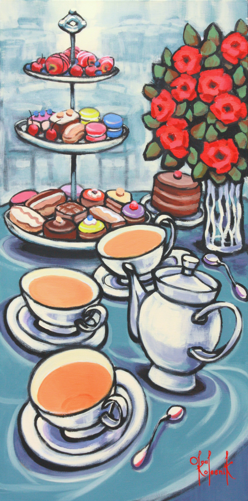 (CreativeWork) High Tea - STILL LIFE by Olga Kolesnik. Acrylic Paint. Shop online at Bluethumb.