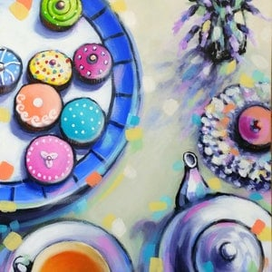 (CreativeWork) Orange Pekoe, Cupcakes and Lavender by Olga Kolesnik. arcylic-painting. Shop online at Bluethumb.