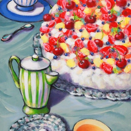 (CreativeWork) Earl Grey and Pavlova - STILL LIFE by Olga Kolesnik. Acrylic Paint. Shop online at Bluethumb.