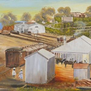 (CreativeWork) Australian Landscape Palmerston Railway Station c. 1887 Disappearing Darwin Series - Heritage Landscape  by Kit McNeill. oil-painting. Shop online at Bluethumb.