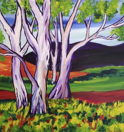 (CreativeWork) Bright Trees by Katie Lambert. arcylic-painting. Shop online at Bluethumb.