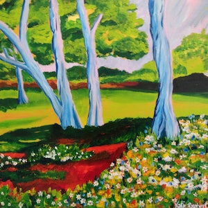 (CreativeWork) Flowers for the Trees by Katie Lambert. arcylic-painting. Shop online at Bluethumb.