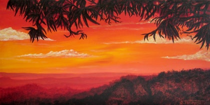 (CreativeWork) Mountains Sunset by Sharon Tarrant. arcylic-painting. Shop online at Bluethumb.