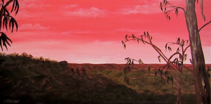 (CreativeWork) Pink Mountain Sky by Sharon Tarrant. arcylic-painting. Shop online at Bluethumb.
