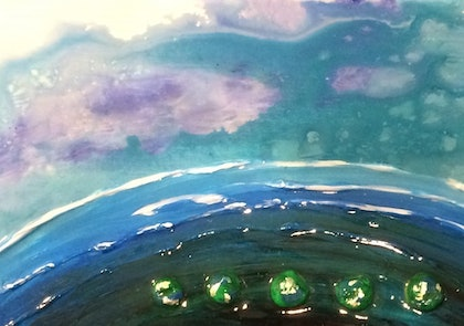 (CreativeWork) Ocean Pebbles by Donna Stone. arcylic-painting. Shop online at Bluethumb.