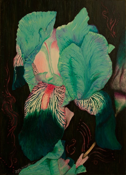 (CreativeWork) Blue Orchid by Jodie Groenveld. oil-painting. Shop online at Bluethumb.