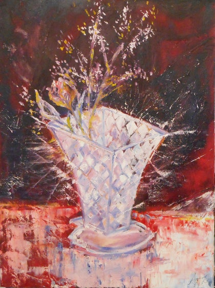 (CreativeWork) Broken vase by Aaron Lai. oil-painting. Shop online at Bluethumb.
