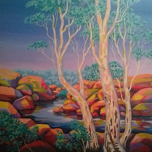 (CreativeWork) CREEKSCAPE 1 by Saadah Kent. arcylic-painting. Shop online at Bluethumb.