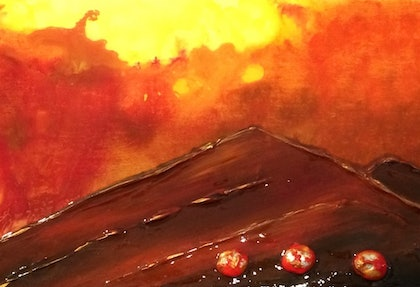 (CreativeWork) Desert Rocks by Donna Stone. arcylic-painting. Shop online at Bluethumb.