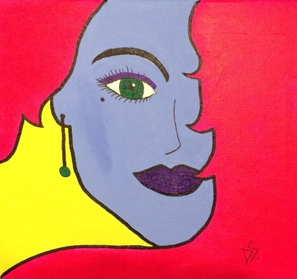 (CreativeWork) Pop Girl by Donna Stone. arcylic-painting. Shop online at Bluethumb.