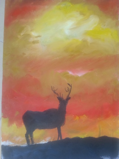 (CreativeWork) inspiration of dawn by maimoona gul. oil-painting. Shop online at Bluethumb.