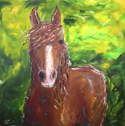 (CreativeWork) 'Bluey' by Rebecca Peel. arcylic-painting. Shop online at Bluethumb.