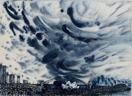 (CreativeWork) Sydney Harbour Menacing Sky by Sian Faber. watercolour. Shop online at Bluethumb.