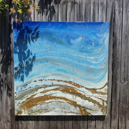 (CreativeWork) Golden coasts by Leigh Fagerlund-Quin. resin. Shop online at Bluethumb.